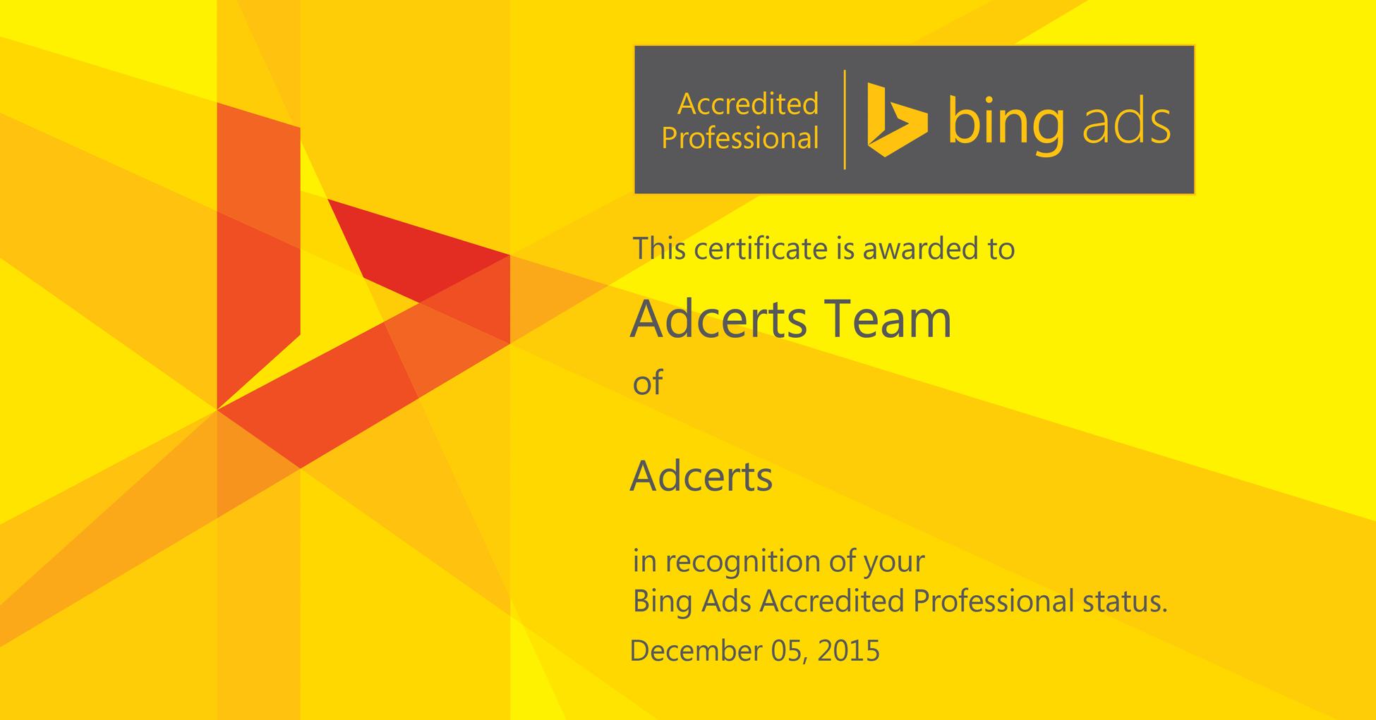 Bing ads accredited professional exam answers adcerts